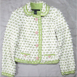 MARC JACOBS Tufted Tulip Cardigan Ivory Green Sz 4